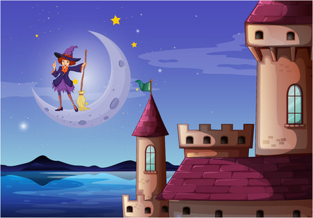 Illustration of a witch with a broomstick standing near the castle Vector