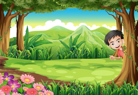 hide and seek: Illustration of a smiling boy playing hide and seek at the forest