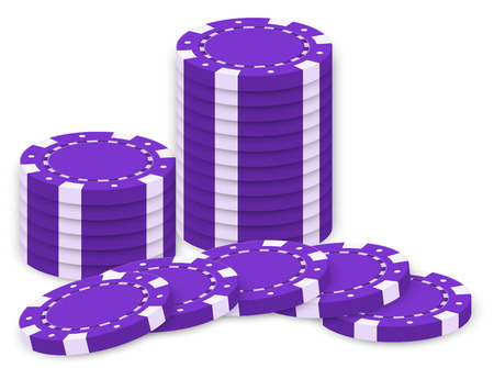 casino tokens: Illustration of the violet poker chips  isolated on white