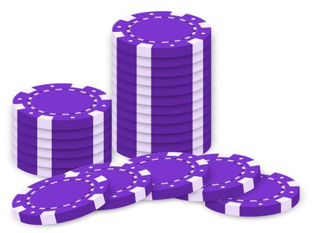 fichas casino: Ilustración de las fichas de póquer violetas aisladas en blanco Vectores