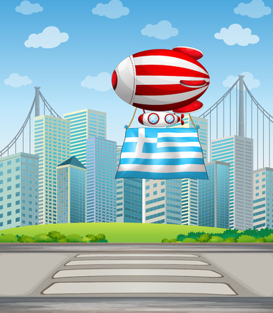 establishments: Illustration of the flag of Greece and the floating balloon Illustration
