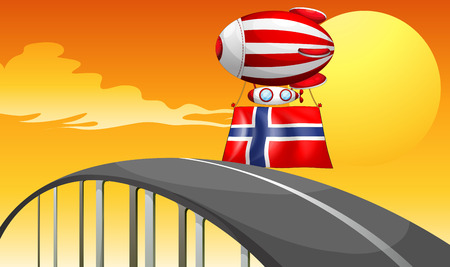 Illustration of a floating balloon travelling wit the flag of Norway Vector