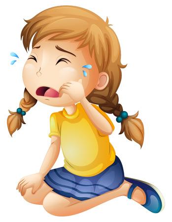 wenen: Illustratie van een meisje huilen op wit wordt geïsoleerd