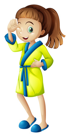 regimen: Illustration of a young girl wearing a bathrobe  isolated on white  Illustration