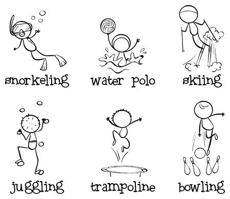 waterpolo: Ilustración de las diferentes actividades en el interior y al aire libre aislado en blanco
