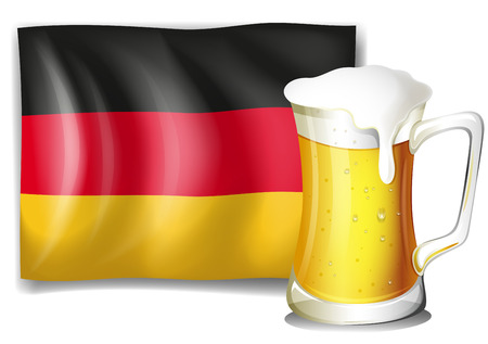 german beer: Illustration of a big mug with cold beer in front of the German flag  isolated on white  Illustration