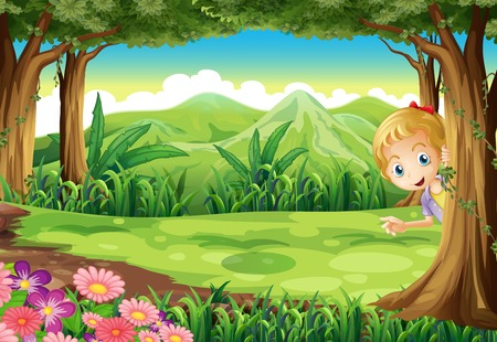 hide: Illustration of a young girl playing hide and seek at the forest