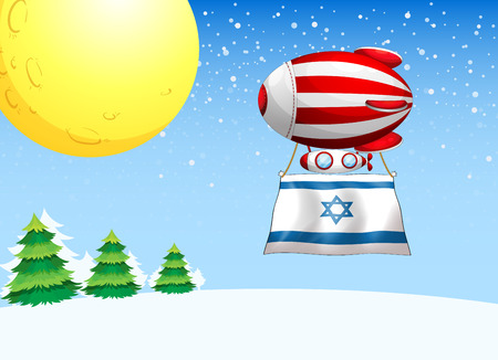 Illustration of a floating balloon with the flag of Israel Vector