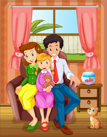 happy couple house: Illustration of a smiling family inside the house