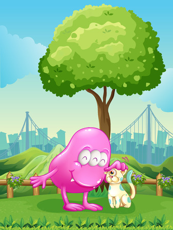 establishments: Illustration of a pink monster and a monster cat near the tree