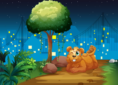 Illustration of a happy brown bear at the pathway Vector