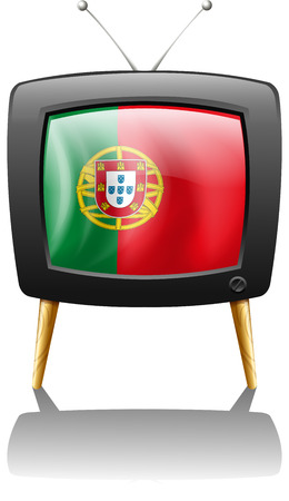 Illustration of the flag of Portugal inside a television isolated on white  Vector