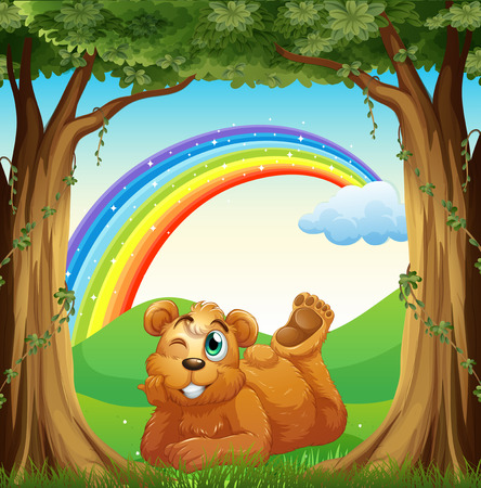 Illustration of a smiling fat bear at the forest and a rainbow in the sky Vector