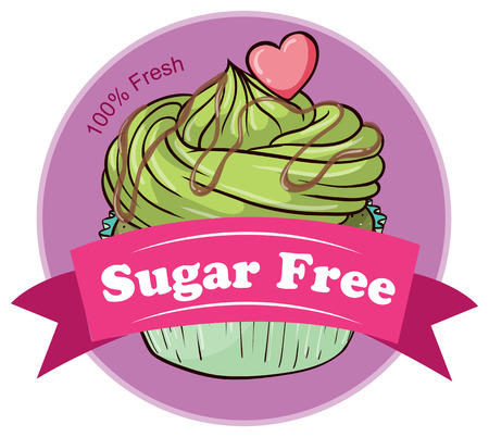 Illustration of a sugar free label with a cupcake  isolated on white  Vector