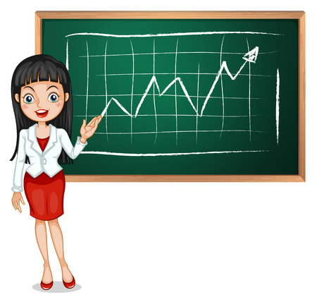 reporting: Illustration of a smart businesswoman reporting isolated on white