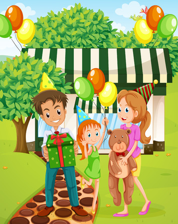 family outside house: Illustration of a happy family celebrating outside the house
