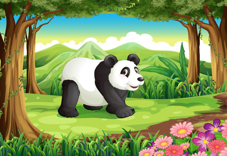 Illustration of a big panda bear at the forest Vector