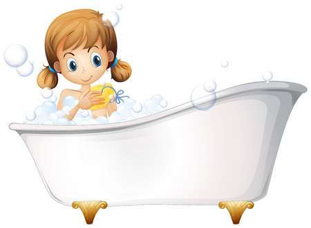 cartoon bathing: Illustration of a girl on the bathtub isolated on white  Illustration
