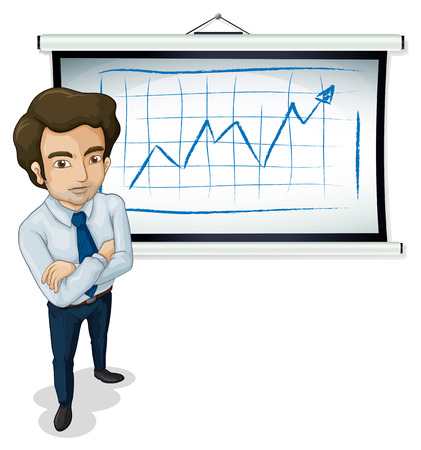 white board: Illustration of a handsome businessman standing in front of the bulletin board  isolated on white  Illustration