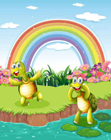 Illustration of the two playful turtles at the pond with a rainbow in the sky Illustration