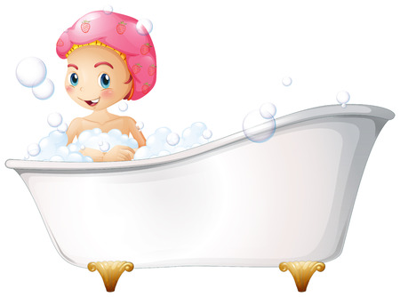 Illustration of a young girl taking a bath on a white background Ilustração