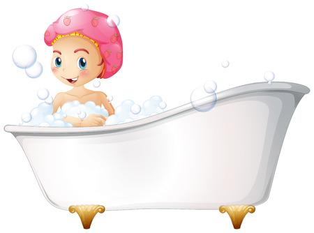 Illustration von einem jungen Mädchen in der Badewanne auf einem weißen Hintergrund Standard-Bild - 26379923
