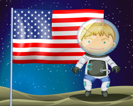 Illustration of an explorer beside the flag of America Vector