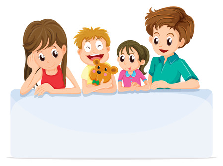 Illustration of a family comforting a member of their family  isolated on white  Vector
