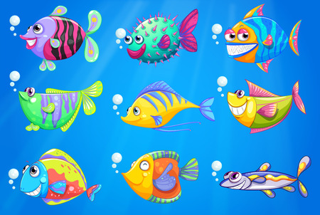 Illustration of the nine colorful fishes under the sea Vector