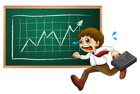 Illustration of a businessman running hurriedly in front of the blackboard  isolated on white  Vector