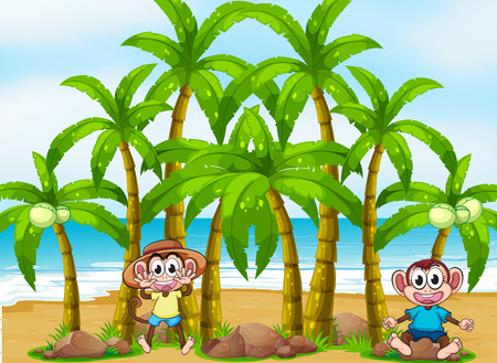 Illustration of a beach with coconut trees and playful monkeys Illustration