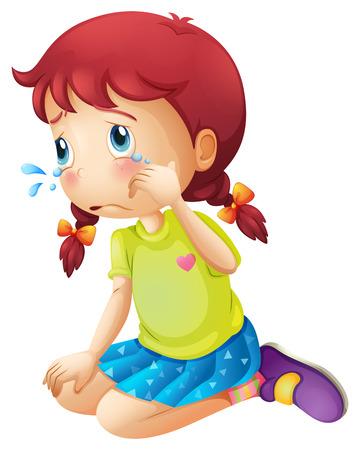 Illustratie van een jonge dame huilen geà ¯ soleerd op wit
