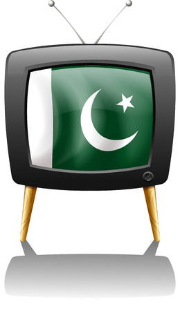 Illustration of a television with the flag of Pakistan on a white background Vector