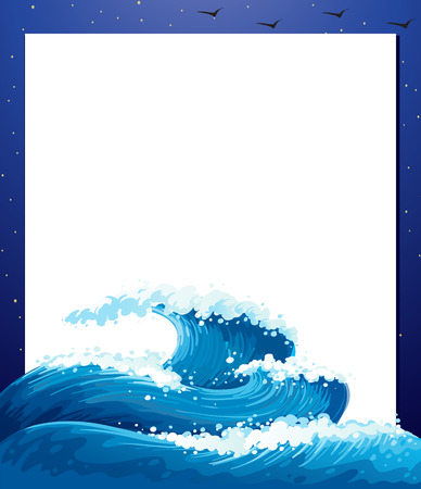 wavelengths: Illustration of an empty paper template with giant waves Illustration