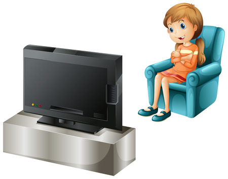 Illustration of a young girl watching TV happily on a white background Illustration