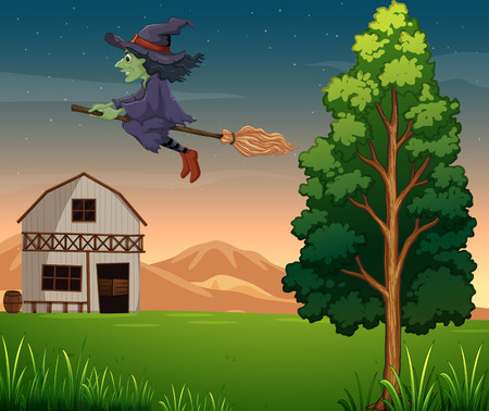 barnhouse: Illustration of a witch at the farm
