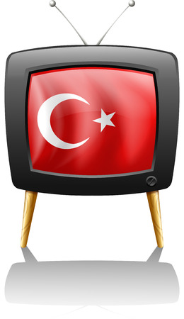 Illustration of a television wit the flag of Turkey on a white background Vector
