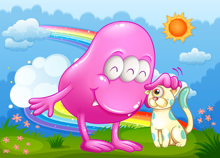 Illustration of a pink monster and a cat at the hilltop with a rainbow in the sky Vector
