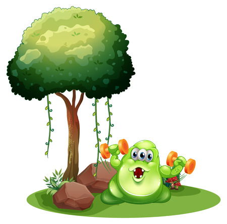 Illustration of a fat green monster with a barbell exercising near the tree on a white background Vector