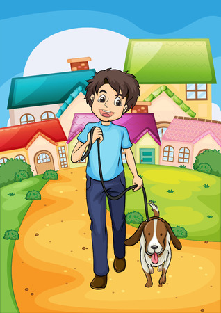 dog walk: Illustration of a happy young boy walking with his pet