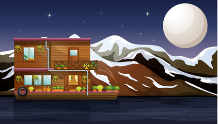 snow tire: Illustration of a beautiful wooden boathouse
