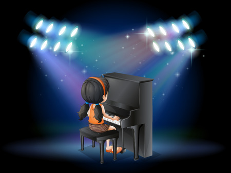 pianist: Illustration of a stage with a young pianist performing