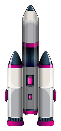 fuschia: Illustration of a big rocket on a white background