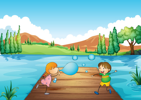 Illustration of a young girl and boy playing with the bubbles Vector