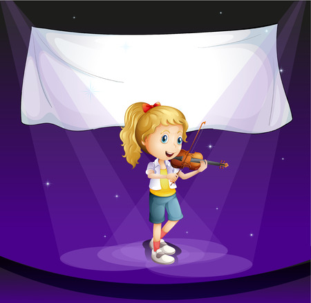 Illustration of a girl performing at the stage with an empty banner Vector
