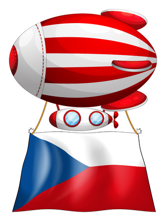 czech flag: Illustration of the flag of Czech Republic and the floating balloon on a white background Illustration