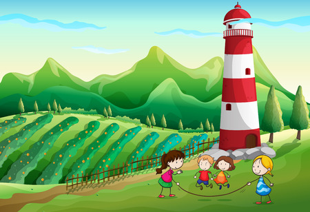 Illustration of the kids playing at the farm with a tower Illustration