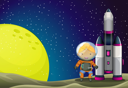 Illustration of an astronaut standing beside the rocket near the moon Vector