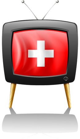 Illustration of a television showing the flag of Switzerland on a white background Vector