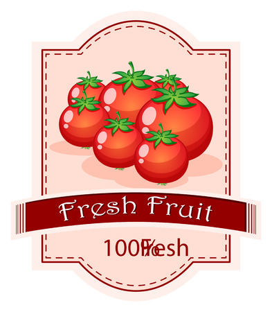 Illustration of a fresh fruit label with ripe tomatoes on a white background Vector